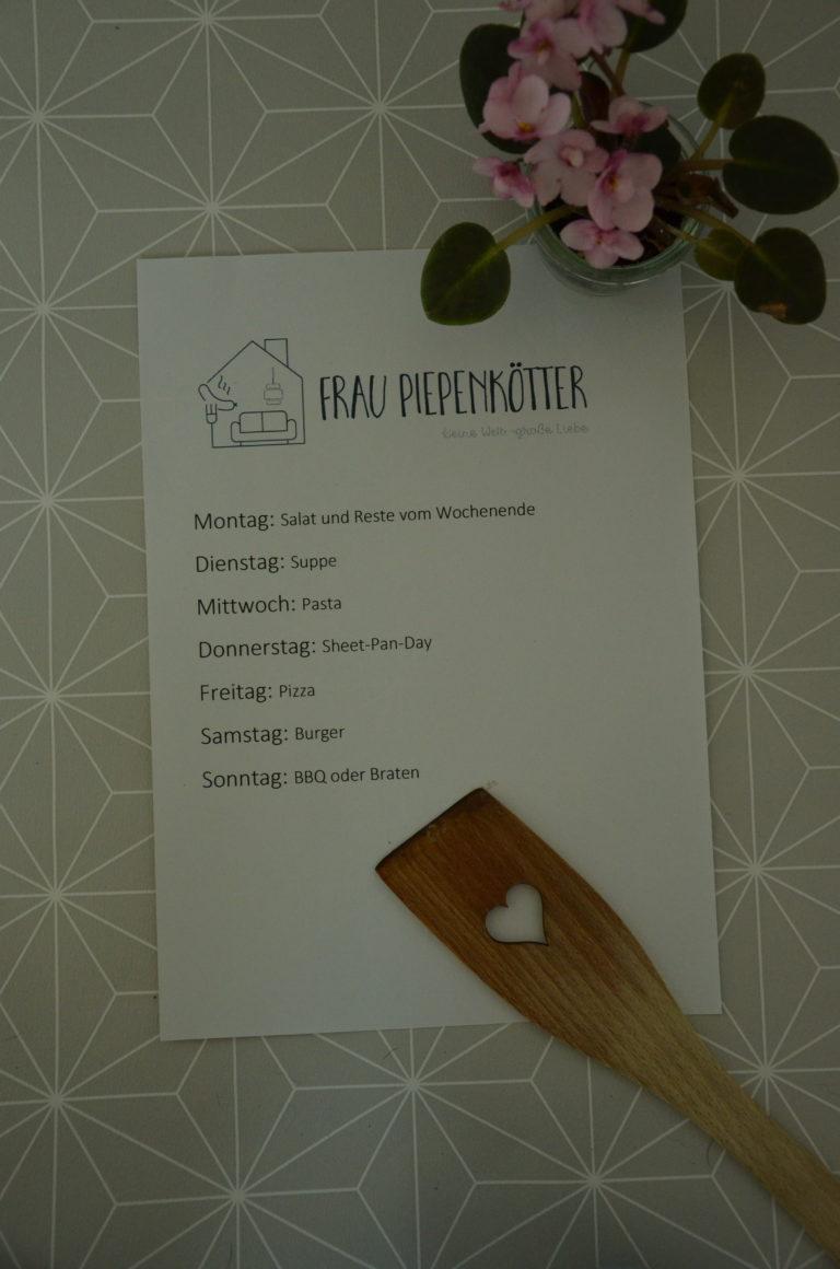 Wochenplan für Frau Piepenkötters Mealprep